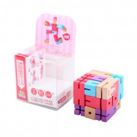 Деревянная головоломка РобоКуб (CubeBot) Розовый