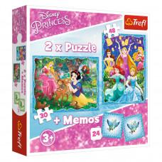 Пазл Trefl 2 в 1 Принцессы Дисней + Мемос